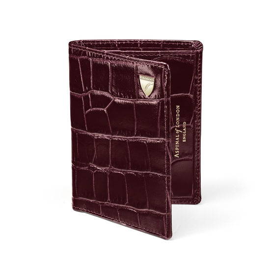 Credit Card Wallet with Notes Pocket in Deep Shine Amazon Brown Croc from Aspinal of London