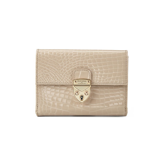 Small Mayfair Purse in Soft Taupe Patent Croc from Aspinal of London