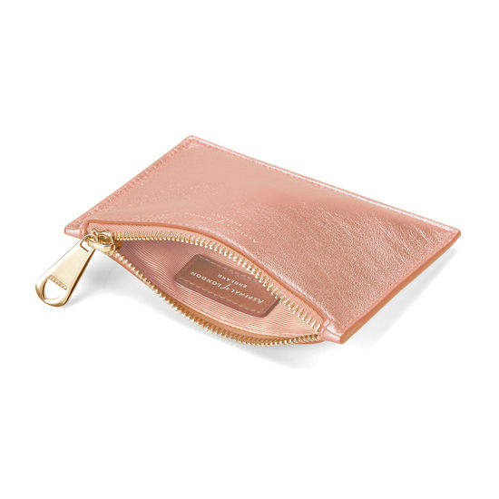 Small Essential Flat Pouch in Rose Gold Metallic from Aspinal of London