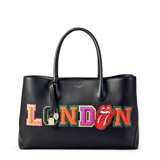 London Tote in Black Pebble with London Embroidered Letters from Aspinal of London