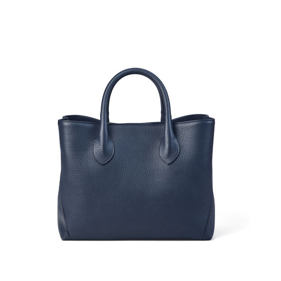 Midi London Tote in Navy Pebble from Aspinal of London