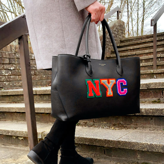 London Tote in Black Pebble with NYC Embroidered Letters from Aspinal of London