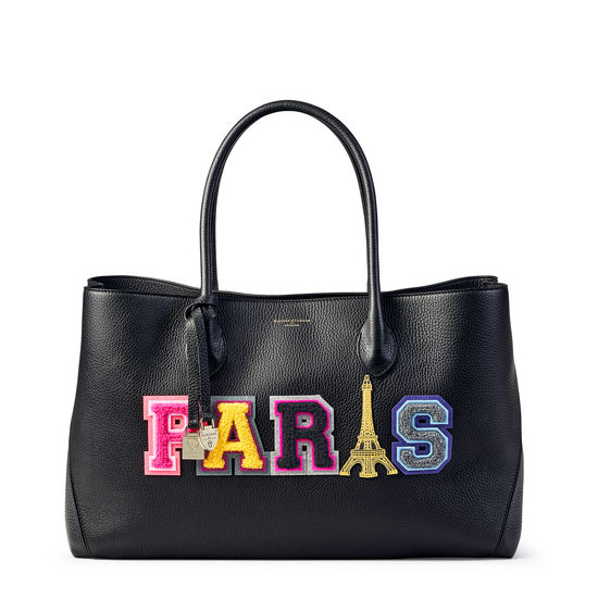 London Tote in Black Pebble with Paris Embroidered Letters from Aspinal of London