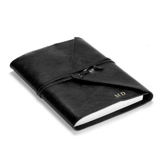 Envelope Wrap A5 Refillable Leather Journal in Black from Aspinal of London