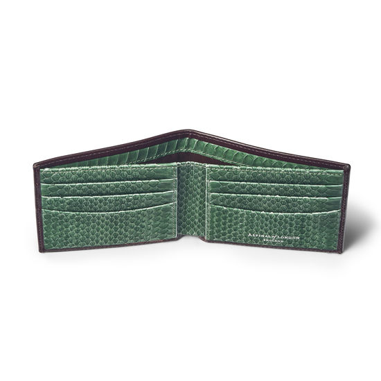 6 Card Billfold Wallet in Smooth Chocolate with Green Land Snake from Aspinal of London