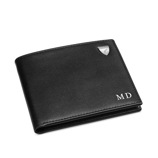 6 Card Billfold Wallet in Smooth Black with Grey Land Snake from Aspinal of London
