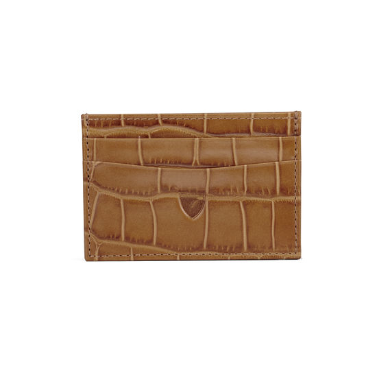 Slim Credit Card Case in Deep Shine Vintage Tan Croc from Aspinal of London
