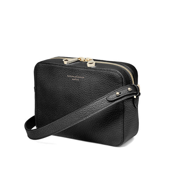 Camera Bag in Black Pebble from Aspinal of London