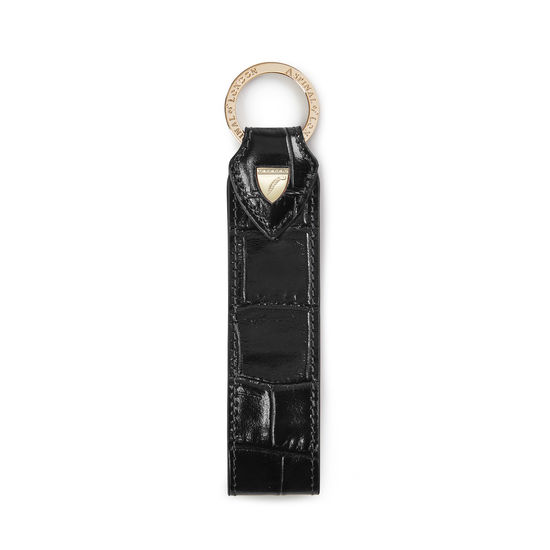 Leather Loop Keyring in Deep Shine Black Croc from Aspinal of London