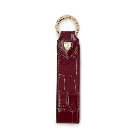 Leather Loop Keyring in Deep Shine Bordeaux Croc from Aspinal of London