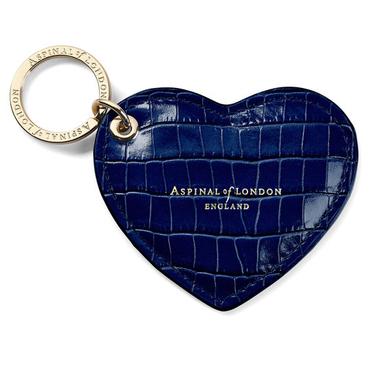 Heart Key Ring in Deep Shine Midnight Blue Small Croc from Aspinal of London