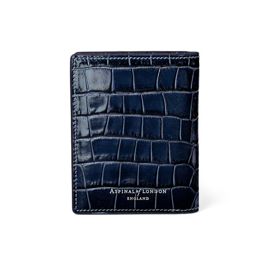 ID & Travel Card Holder in Deep Shine Navy Small Croc from Aspinal of London