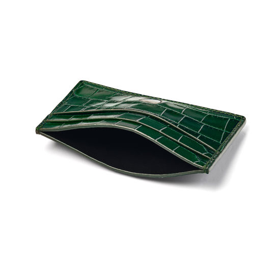 Slim Credit Card Holder in Deep Shine British Racing Green Small Croc from Aspinal of London
