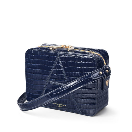 Camera 'A' Bag in Deep Shine Midnight Blue Small Croc from Aspinal of London