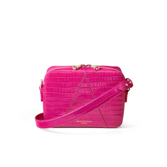 Camera 'A' Bag in Deep Shine Penelope Pink Small Croc from Aspinal of London