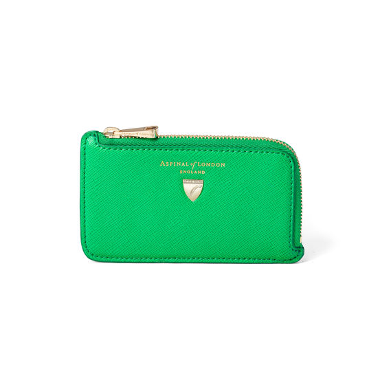 Zipped Coin & Card Holder in Bright Green Saffiano from Aspinal of London