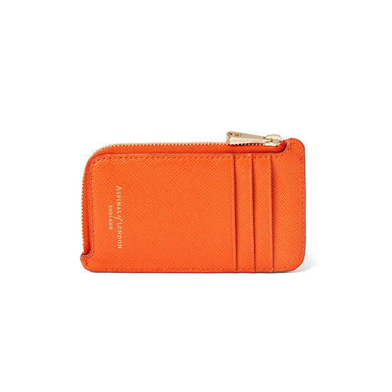 Zipped Coin & Card Holder in Bright Orange Saffiano from Aspinal of London