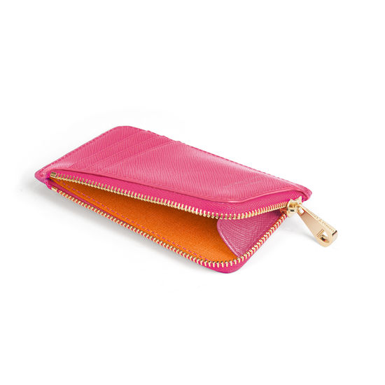 Zipped Coin & Card Holder in Bright Pink Saffiano from Aspinal of London
