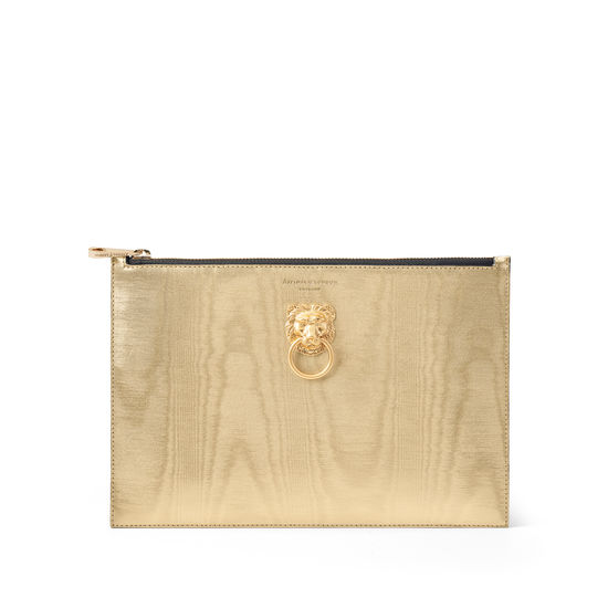 Lion Large Essential Flat Pouch in Gold Moire Print from Aspinal of London