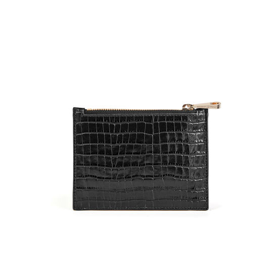 Lion Small Essential Flat Pouch in Deep Shine Black Small Croc from Aspinal of London