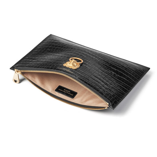 Lion Large Essential Flat Pouch in Deep Shine Black Small Croc from Aspinal of London