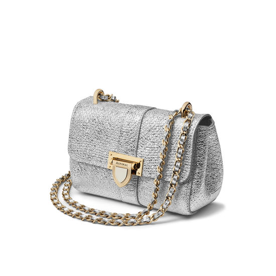 Micro Lottie Bag in Silver Python Print with Perso Lock from Aspinal of London