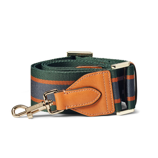 Webbing Bag Strap in Green, Grey & Rust Stripes from Aspinal of London