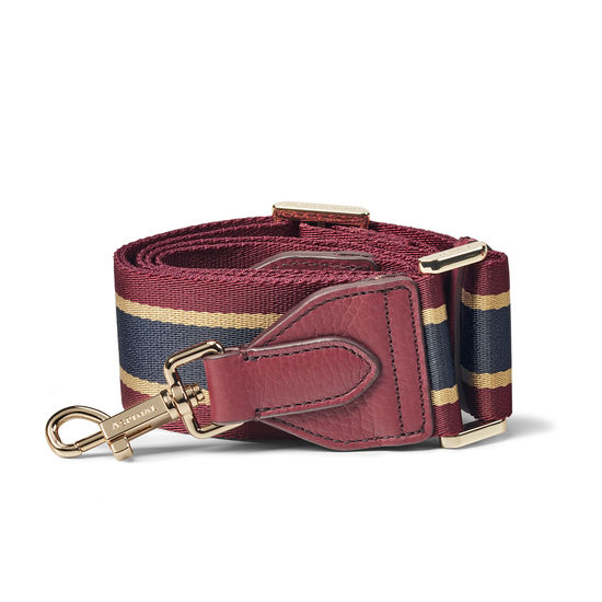 Webbing Bag Strap in Bordeaux, Navy & Camel Stripes from Aspinal of London