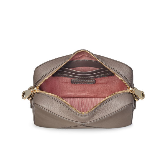 Camera 'A' Bag in Warm Grey Pebble with Webbing Strap from Aspinal of London