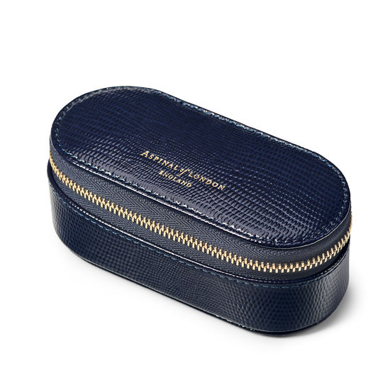 Handbag Tidy All in Midnight Blue Silk Lizard from Aspinal of London