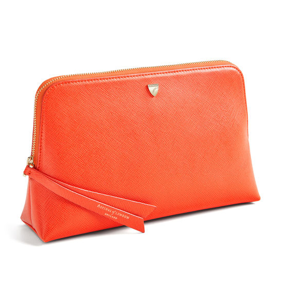 Large Essential Cosmetic Case in Bright Orange Saffiano from Aspinal of London