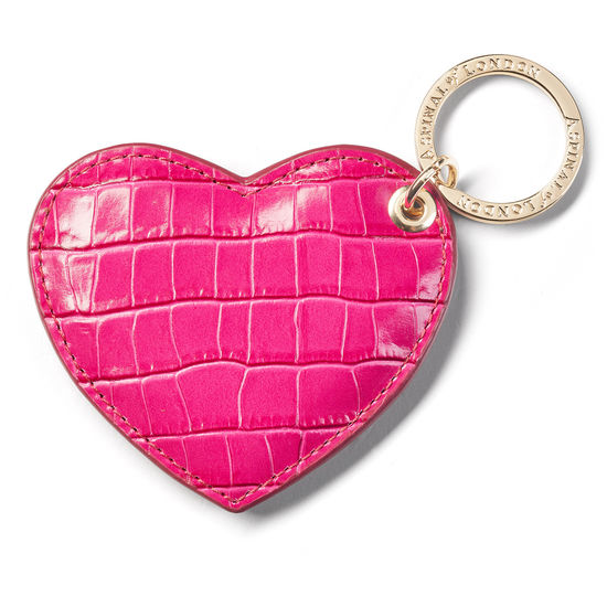 Heart Key Ring in Deep Shine Penelope Pink Small Croc from Aspinal of London