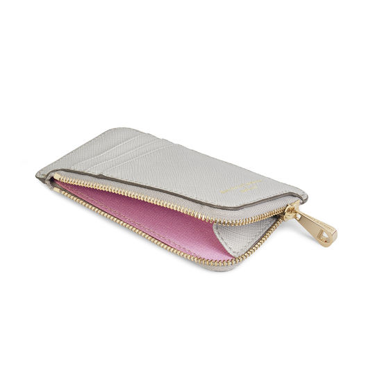 Zipped Coin & Card Holder in Light Grey Saffiano from Aspinal of London