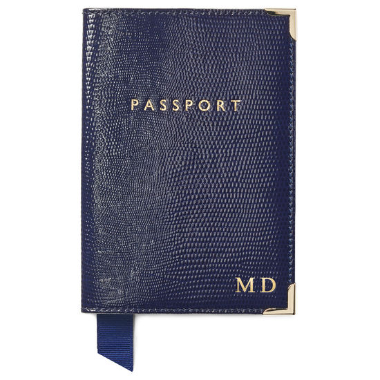 Passport Cover in Midnight Blue Silk Lizard from Aspinal of London