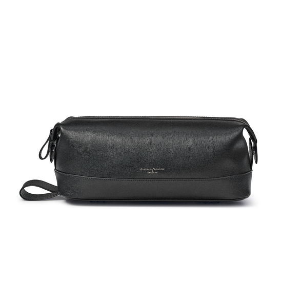 Men's Leather Wash Bag in Black Saffiano from Aspinal of London