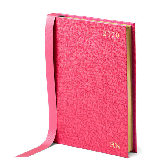 A5 Day to Page Leather Diary in Bright Pink Saffiano from Aspinal of London