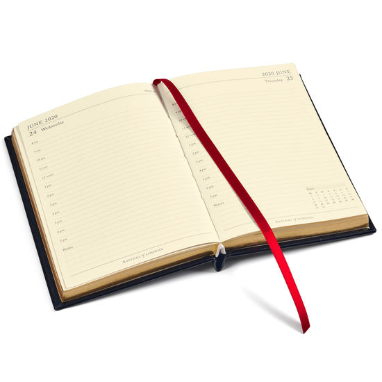 A6 Day to Page Leather Diary in Bright Pink Saffiano from Aspinal of London