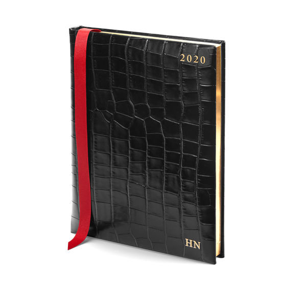 Quarto A4 Day to Page Leather Diary in Deep Shine Black Croc from Aspinal of London