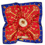 Lion & Key Silk Scarf in Red & Royal Blue from Aspinal of London