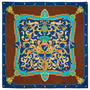 Aspinal Signature Shield Silk Scarf in Teal from Aspinal of London