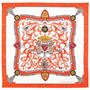 Aspinal Signature Shield Silk Scarf in Ivory & Orange from Aspinal of London